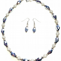 Silver beaded sparkly necklace and earrings set party necklace