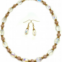 Clear sparkly beaded necklace with gold disco beads - party necklace