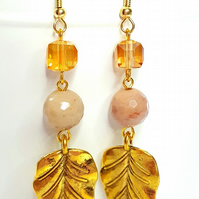 Gold plated leaft and Rhodocrosite gemstone dangle earrings