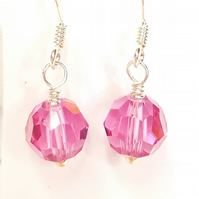 Dainty Pink crystal drop earrings featuring Swarovski Crystals & sterling silver
