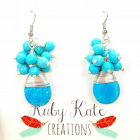 Wire Wrapped Boho Turquoise magnesite women's cluster earrings