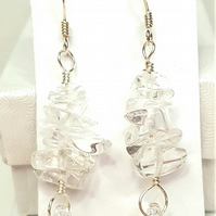 Clear Quartz Chips dangle earrings mixed with Swarovski Crystal drops