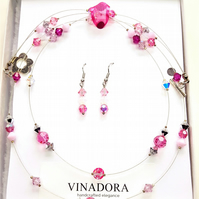 Pink crystal floating necklace and earrings set made with Swarovksi crystals
