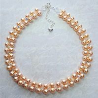 Peach pearl bridal choker necklace with Swarovski pearls and crystals