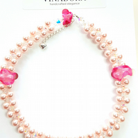 Pink pearl choker necklace featuring Swarovski crystals and pearls