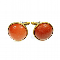 Goldstone Antique Bronze Cuff links for men or women, anniversary gift