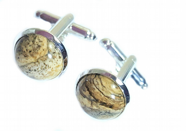 Picture Jasper Gemstone Cuff links for men or women silver plated