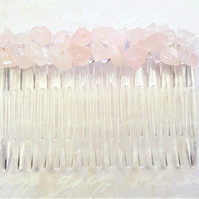 Rose Quartz Gemstone Hair Comb, bridal hair comb, ladies hair comb