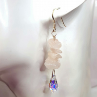 Rose Quartz Gemstone dangle earrings with Swarovski crystal drops