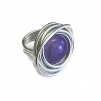 Large statement wire wrap adjustable purple ring