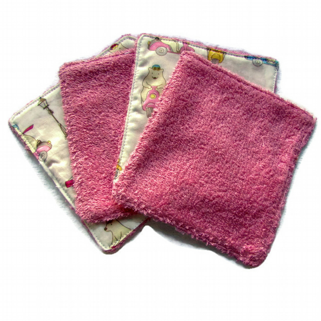 Washable resuable wet wipes for baby, makeup, nappy, bathroom and kitchen