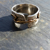 Chunky organic Silver Ring with 9ct Gold twisted Strap