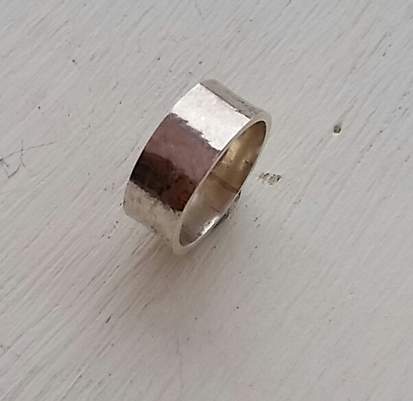 Chunky organic Wide 9ct gold  Ring 6mm wide