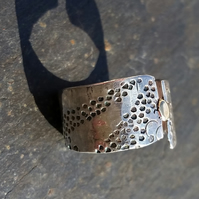 Silver and Gold stamped wedding ring