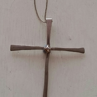 Sterling Silver short cross with feature centre button