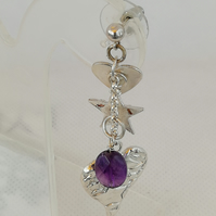 Sterling Silver Asymmetrical Drop Earrings with stars and hearts and amethysts