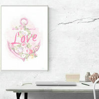 Nautical Print - Love Anchor - A4