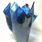 Long stemmed tulip vase- swirling blue