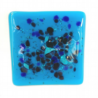 Bubbly Blue Coasters Set of 2 in Fused Glass