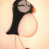 Puffin Suncatcher in Fused Glass