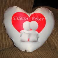 Personalised Valentine's Heart Cushion 35 cm