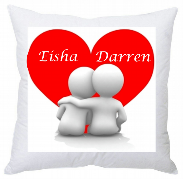 Personalised Square Cushion Heart Couple 35 cm