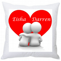 Personalised Valentine's Square Cushion Heart Couple 35 cm