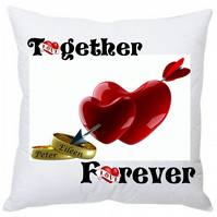 Personalised Valentine Wedding Anniversary Square Cushion Together Forever 35cm