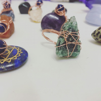 Aventurine & Copper Wire Wrapped Ring