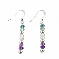 Fluorite and Sterling Silver Drop Earrings