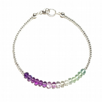 Fluorite and Sterling Silver Ombre Bracelet
