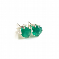 Vibrant Green Agate and Sterling Silver Stud Earrings