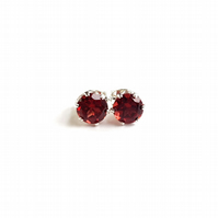 Garnet and Sterling Silver Stud Earrings