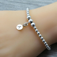 Sterling Silver Bead Bracelet with personalized initial charm