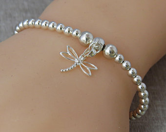 Sterling Silver Bead Stacking Bracelet with Dragonfly Charm