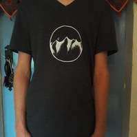Handpainted V-Neck Mountain T-Shirt (men's t-shirt but could be unisex)