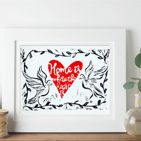 Home is Where the Heart is Handmade Original Framed Lino Print