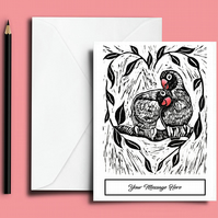 Lovebirds Personalised Valentine's Card