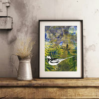 A Walk in Spring with Pied Wagtail - Handmade Original Framed Monoprint