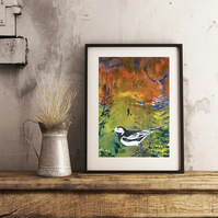A Walk in Autumn with Pied Wagtail - Handmade Original Framed Monoprint