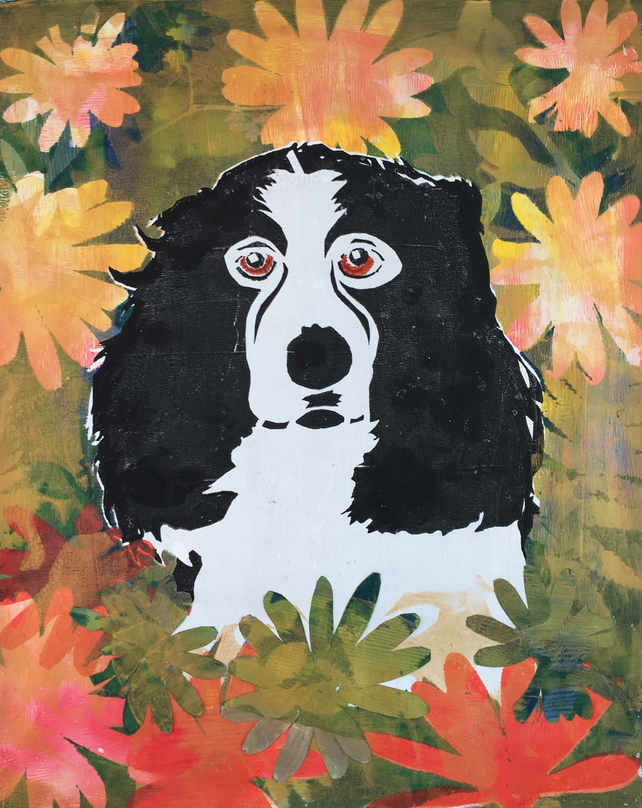 Amongst the Flowers - Springer Spaniel (unframed print)