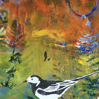 A Walk in Autumn with Pied Wagtail (unframed print)
