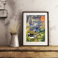 A Walk in Summer, with Pied Wagtail - Handmade Original Framed Monoprint