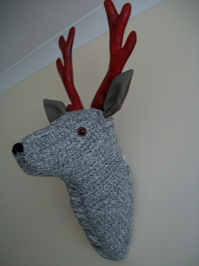 Taxidermy Wool Faux Leather Stag Deer
