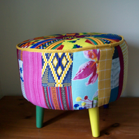 Brand New African Print Patchwork Footstool.By Mabels Interiors