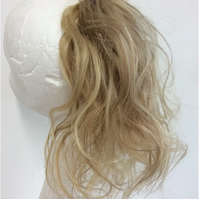 Mixed blonde human hairpiece scrunchie Ponytail 36g 12Inches