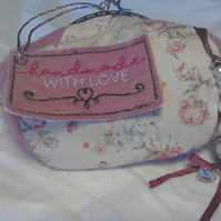 Handmade Shabby Chic Coin or Sweet little Cosmetic purse With Up Cycled Charm.