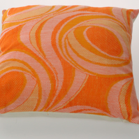 vintage retro 1960s 70s orange swirl cushion cover