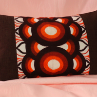 1970s Orange and brown circles panel cushion cover