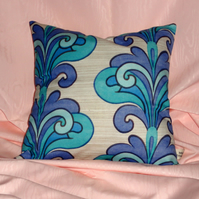 Blue 1960s swirl pattern cushion covers